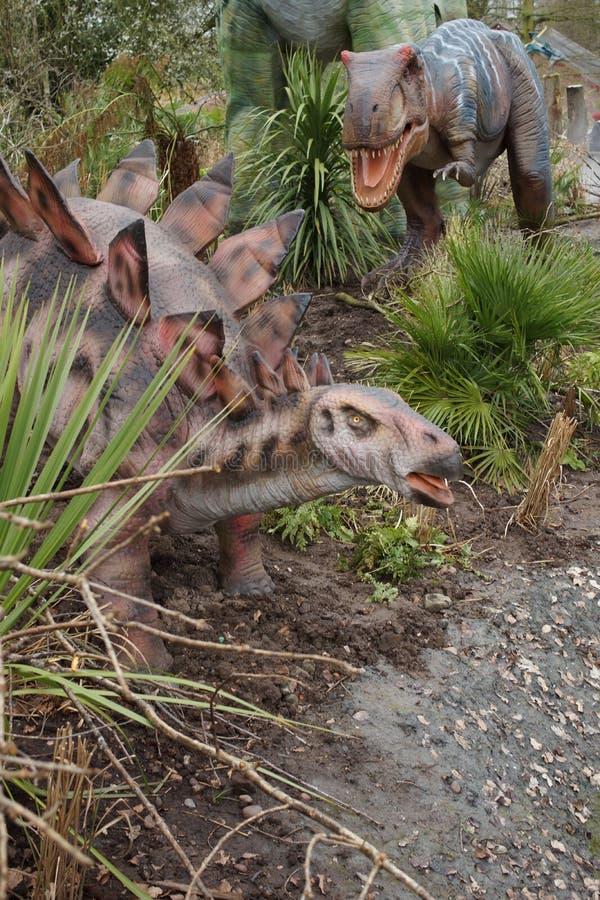 Allosaurus e Stegosaurus imagens de stock royalty free