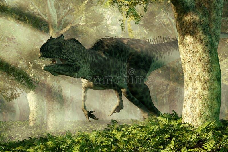 Allosaurus em uma floresta ilustração do vetor