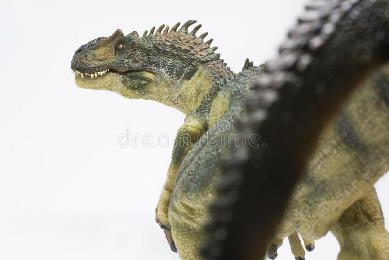 Allosaurus malvado en el fondo blanco imagenes de archivo