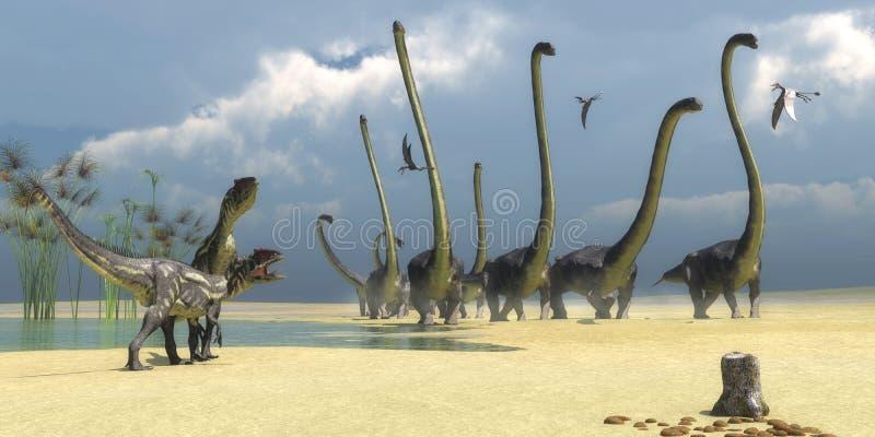 Allosaurus und Omeisaurus-Dinosaurier lizenzfreies stockfoto
