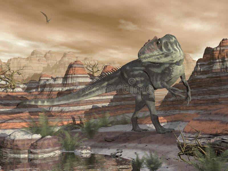 Allosaurusdinosaurus in de 3D woestijn - geef terug royalty-vrije illustratie