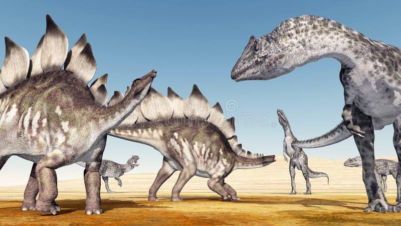 Allosaurusen anfaller stegosaurusen vektor illustrationer