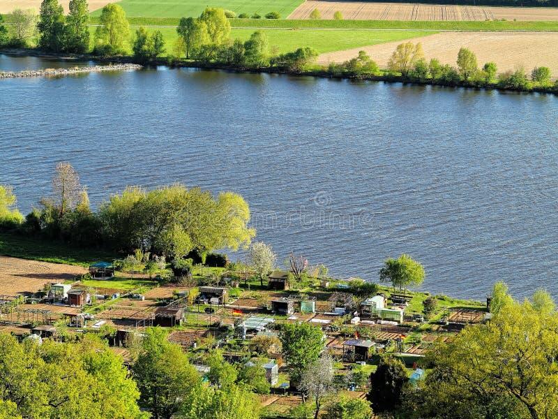 Allotment gardens at Danube river at spring stock photo
