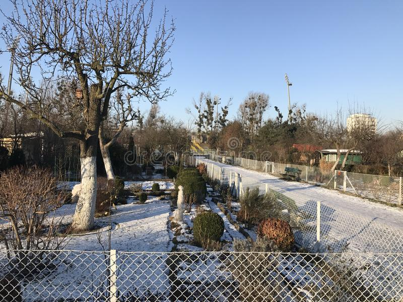 Allotments in snowy winter. Allotments in snowy wintry weather stock images