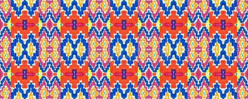 Ikat Seamless Pattern. Allover Organic Swimwear Design. Geo Ogee Tile.  Aztec Geometric Textile Border Ogee Seamless Texture. Ikat Pattern. Psychedelic Rainbow royalty free illustration