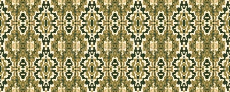 Ikat Seamless Pattern. Allover Organic Swimwear Design. Geo Ogee Tile.  Aztec Geometric Textile Border Watercolor Hand Drawn Textile. Creative Navajo Ikat vector illustration