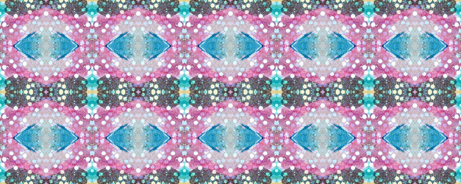Ikat Seamless Pattern. Allover Organic Swimwear Design. Geo Ogee Tile.  Psychedelic Rainbow Watercolor Hand Drawn Textile. Creative Navajo Ikat Background royalty free stock photo