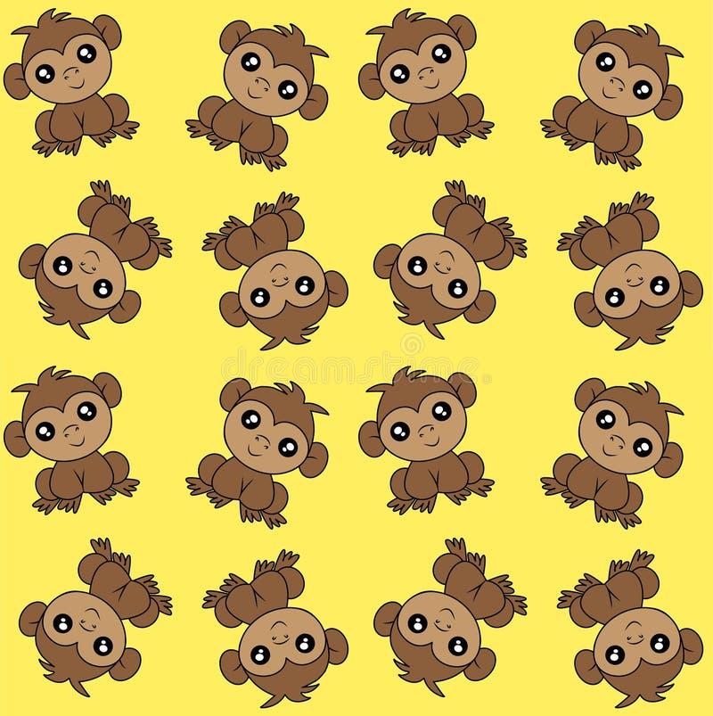 Alloverprint met apen op gele achtergrond royalty-vrije illustratie