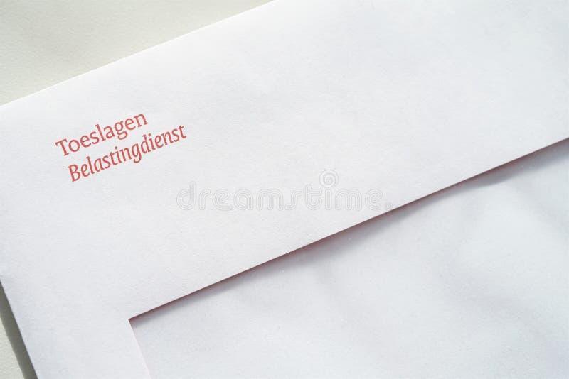 Envelope from the Dutch tax authorities In Dutch: De Belastingdienst regarding allowances In Dutch: Toeslagen. Allowance, belastingdienst, dutch, dutch tax stock photography