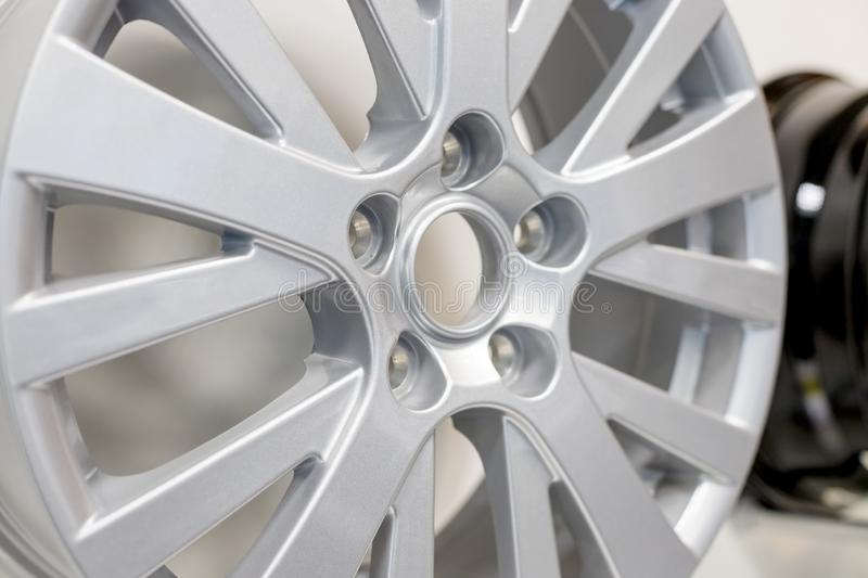 Alloy Car Wheel . Side View of Polished Chrome Car Rim. Truck Aluminum Wheel. Steel Wheels. Clipping Path stock photography
