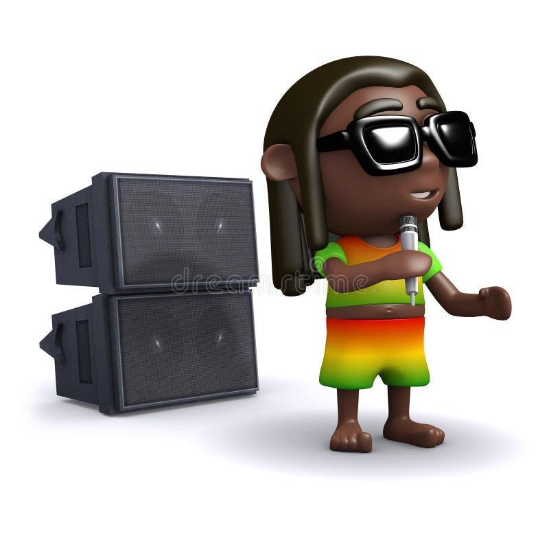 allsånger för 3d Rastafarian till åhörarna royaltyfri illustrationer