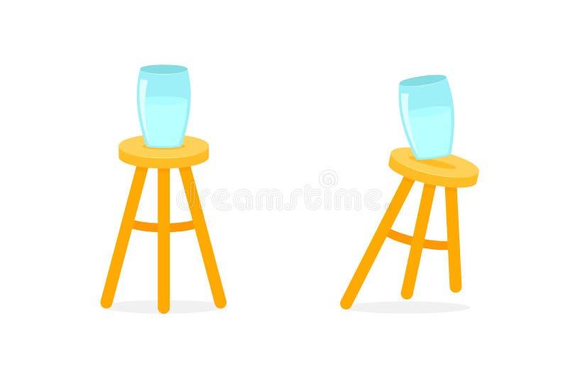 Allsidiga och obalanserade tre lagd benen på ryggen stol royaltyfri illustrationer