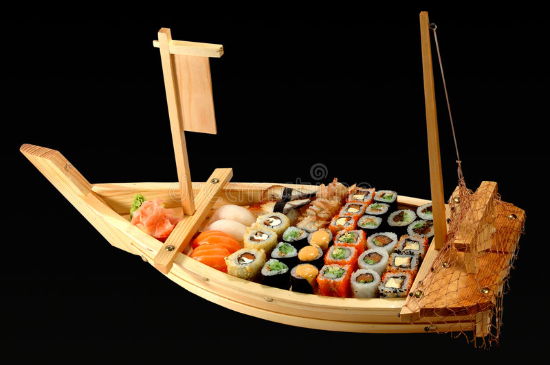 allsorts som seglar sushy vesse arkivbilder