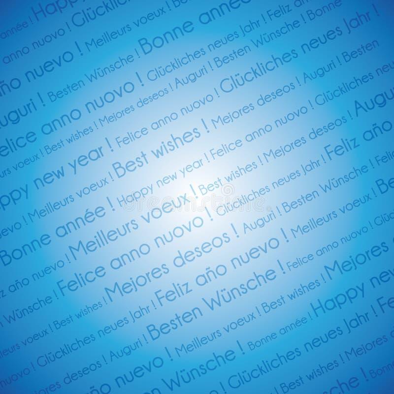 Allt lager för text för lyckligt nytt år för språk på blå festlig bakgrund vektor illustrationer