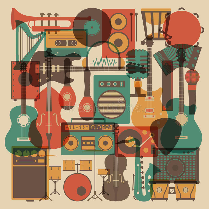 Allt musikinstrument stock illustrationer