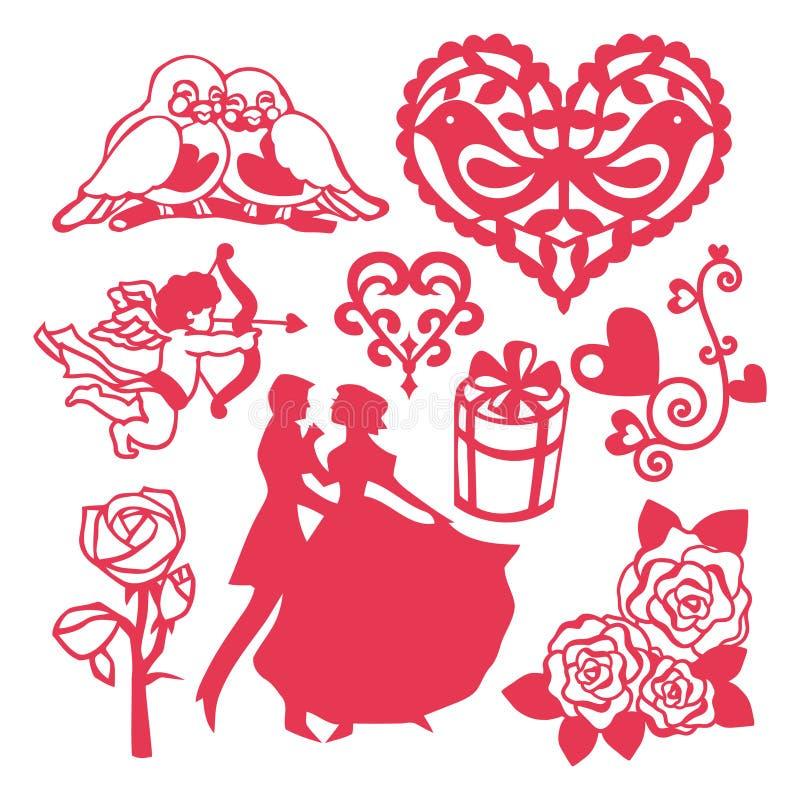 Allt om beståndsdelar för förälskelsevektordesign vektor illustrationer