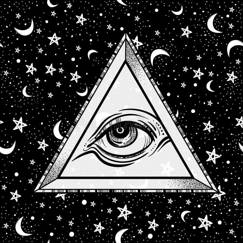 Allt seende ögonpyramidsymbol Hand-dragit öga av försyn Alkemi religion, andlighet, tatueringkonst också vektor för coreldrawillu stock illustrationer