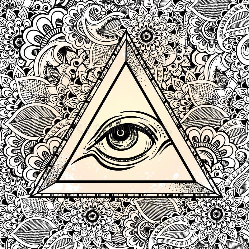 Allt seende ögonpyramidsymbol Hand-dragit öga av försyn Alkemi religion, andlighet, tatueringkonst också vektor för coreldrawillu royaltyfri illustrationer