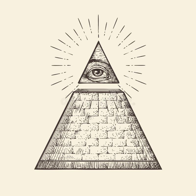 Allt seende ögonpyramidsymbol ny beställningsvärld Den drog handen skissar vektorn royaltyfri illustrationer