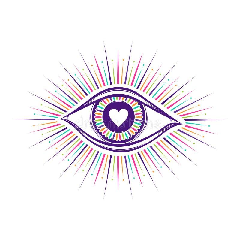 allt seende ?gonsymbol Vision av f?rsyn Alkemi religion, andlighet, ockultism, tatueringkonst isolerad knapphandillustration skju royaltyfri illustrationer