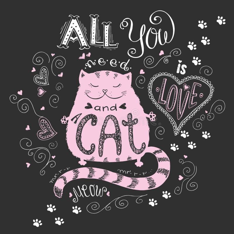 Allt som du behöver, är förälskelse och katten, rolig hand dragen bokstäver royaltyfri illustrationer
