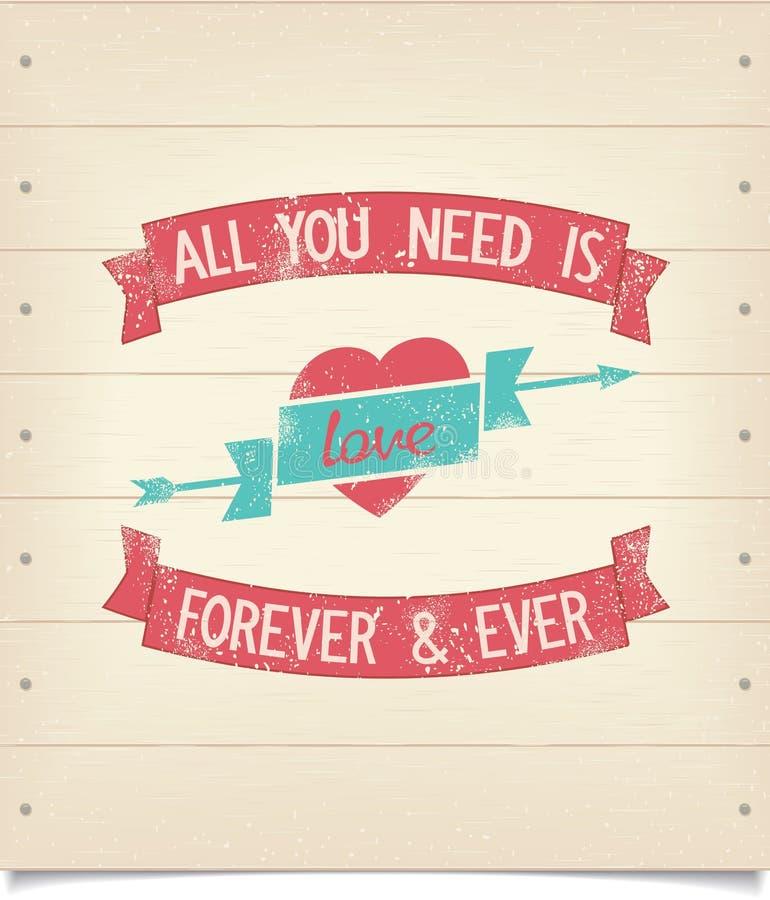 Allt som du behöver, är förälskelseuttrycket på den wood skylten stock illustrationer