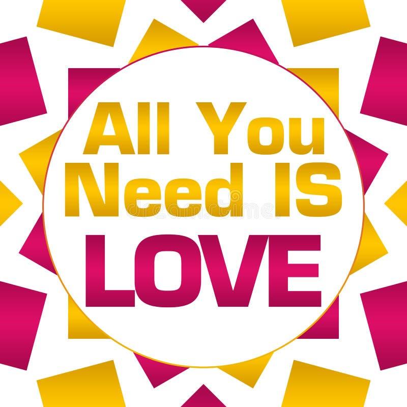 Allt som du behöver, är rosa guld- rund bakgrund för förälskelse stock illustrationer