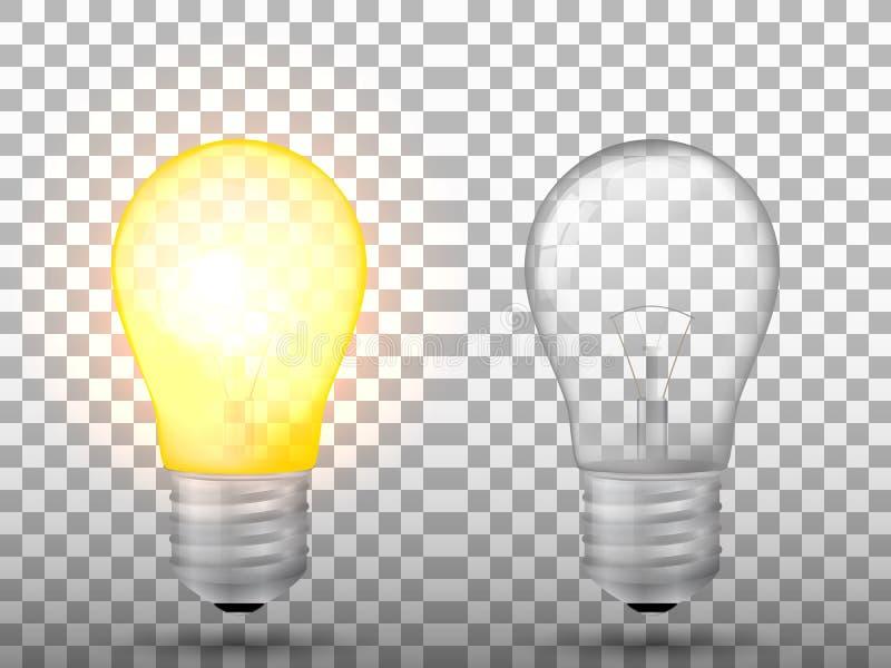 Allumé et commuté outre de l'ampoule sur un fond transparent illustration de vecteur