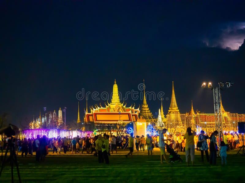 Allumage de la conception Sanam Luang ? Bangkok Tha?lande, illumination color?e images libres de droits