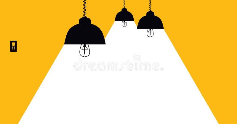 Allumage de la lampe avec les rayons blancs sur un fond jaune avec l'espace pour le texte illustration stock