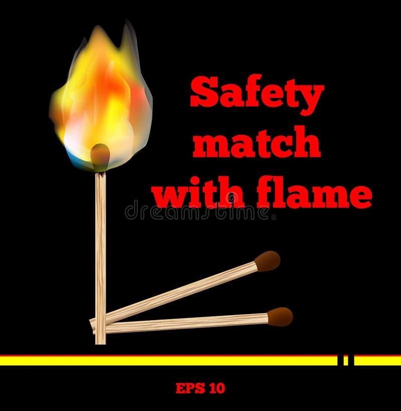 Allumette brûlant avec la flamme et la fumée sur le fond noir Beau format lumineux ENV 10 de vecteur du feu Match de sécurité d'i illustration de vecteur