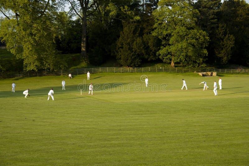 Allumette de cricket sur un ashford de soirée d'été dans le dist de crête de l'eau images libres de droits