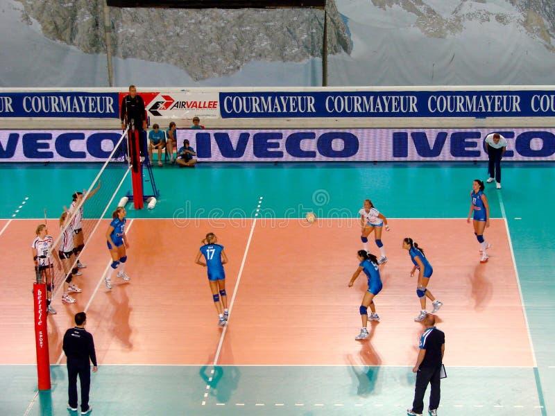 Allumette de volleyball : réception photographie stock libre de droits