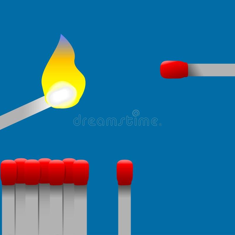 Allumettes de livre d'un rouge ardent illustration de vecteur