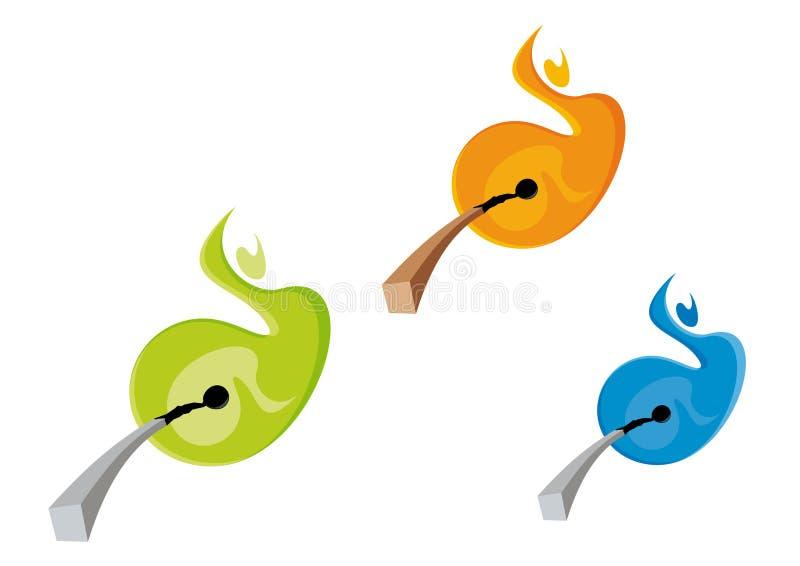 Allumettes et flammes colorées illustration libre de droits