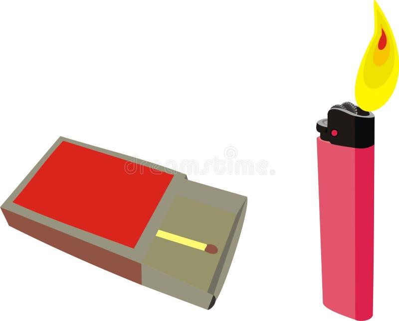 Allumettes et un briquet illustration stock