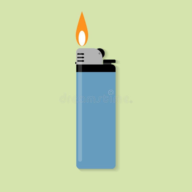 Allumeur de gaz bleu avec le feu illustration libre de droits