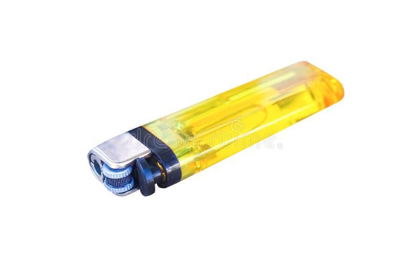 Allumeur de gaz en plastique jaune d'isolement sur le fond blanc avec le chemin de coupure, horizontal image stock