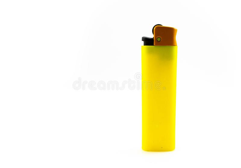 Allumeur de gaz vide jaune d'isolement sur le fond blanc photographie stock libre de droits