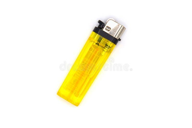 Allumeur jaune d'isolement de cigarette sur le fond blanc photos stock