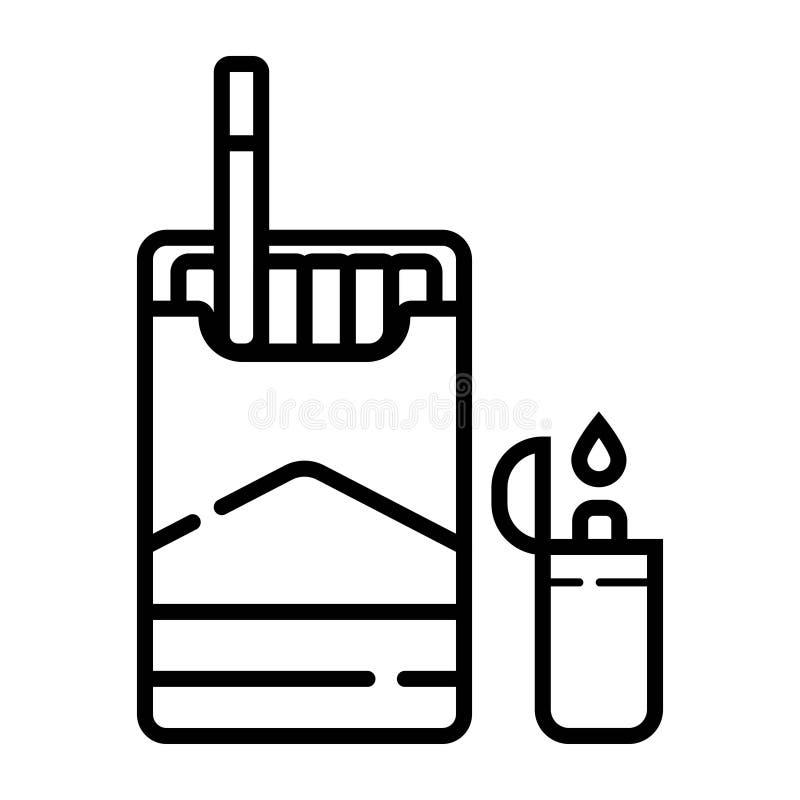 Allumeurs, cigarettes paquet, cigarette illustration stock