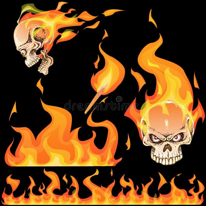 Allumez l'illustration de flamme et le crâne brûlé, posés, illustration stock