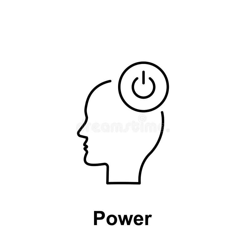 Allumez-vous, tête, icône de puissance Élément du nom créatif de witn d'icône de thinkin Ligne mince icône pour la conception de  illustration stock