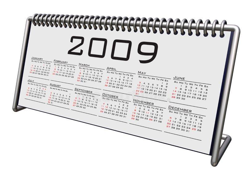 Alluminium e calendário 2009 do Desktop do cromo ilustração royalty free