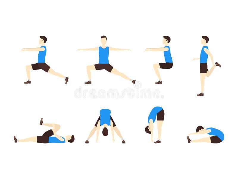 Allungamento dell'insieme di esercizio con il piano dell'uomo Vettore illustrazione di stock