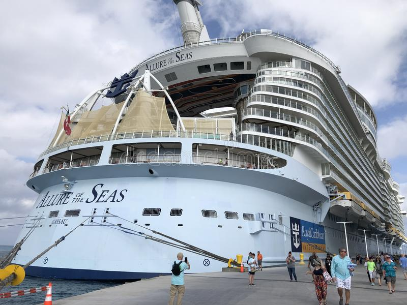 Allure of the Seas. In CocoCay, Bahamas stock photos