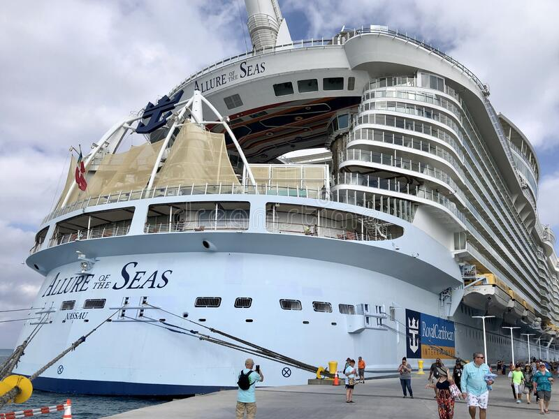 Allure of the Seas. In CocoCay, Bahamas stock photography