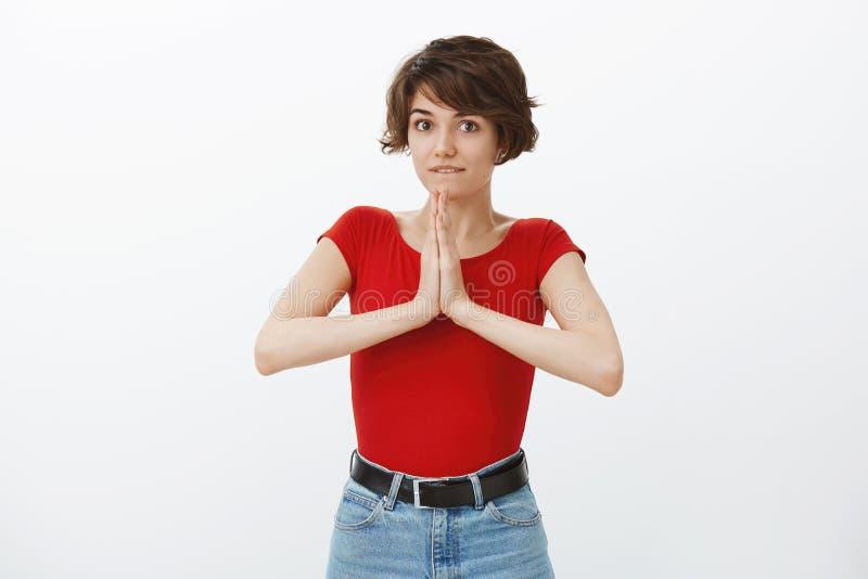 Alluring возбужденная жизнерадостная девушка спрашивая довольно пожалуйста помочь ладоням владением совместно молит губу укуса же стоковые изображения