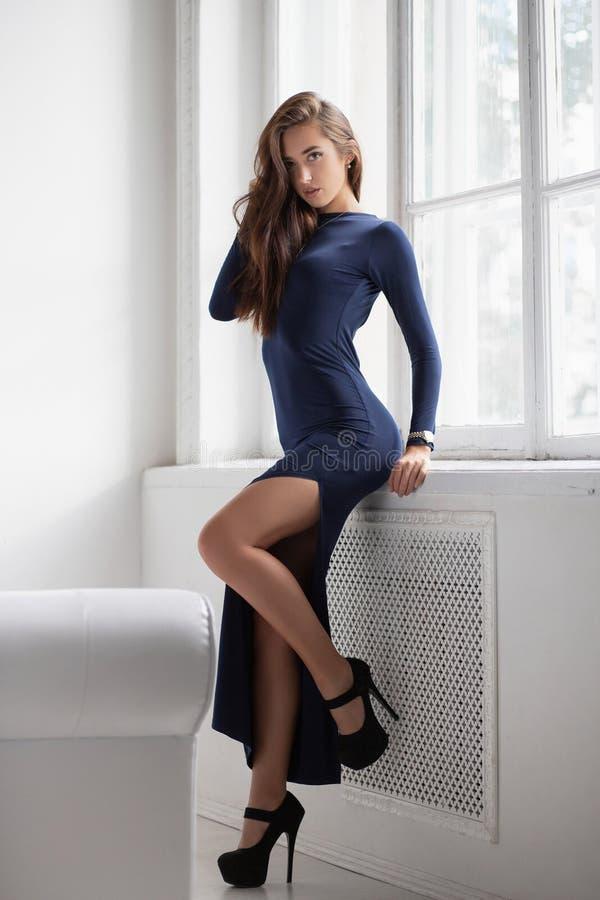 Alluring brunette posing standing in a studio stock photo