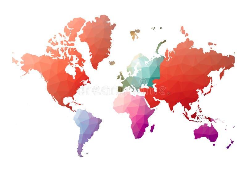 Карта мира alluring низкий поли стиль иллюстрация вектора